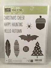 CHEER ALL YEAR Stampin Up New Christmas Halloween Feather Acorn Bat Tree