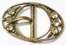 boucle ceinture ancienne accessoire bijou vintage coul or patiné cristal 4960