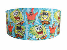 NEW SPONGE BOB & PATRICK LIGHT BLUE GROSGRAIN RIBBON 2M X 25mm FOR BIRTHDAY CAKE