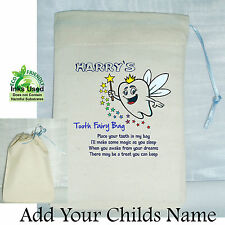 Baby Boys First Tooth Fairy Mini Bag Cotton Drawstring Personalised Keepsake