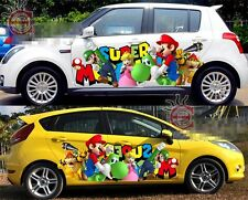 Set SUPER MARIO Game Cute Full Color Car Graphics Decal Vinyl Sticker Both Sides