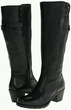 Clarks Artizan Maymie Stellar Black Leather Knee High Long Boots Size 4.5/37.5