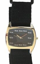 """NOW"" Is The Time OnThe Jumbo Curved Cushion Shape Watch With Black Velcro Strap"