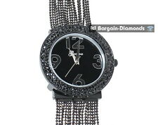ladies elegant black designer-style fashion dress watch white crystals bead