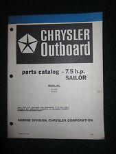 1981 Chrysler Outboard 7.5 HP Sailor Parts Catalog Manual 71H1B 71B1B