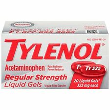 Tylenol Regular Strength Acetaminophen Pain & Fever Reducer 20 Liquid Gels 10/17