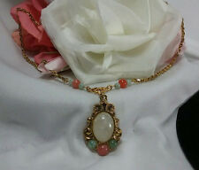 Vintage Gold 1928 Victorian Opaque Pearled Pink Green Dangle Cabochon Necklace