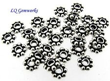 20 Sterling Silver 6.5mm Daisy Spacer Beads