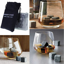 9x Whisky Ice Stones Drink Rock Cubes Ice Natural Granite Cooler Cubes with Bag