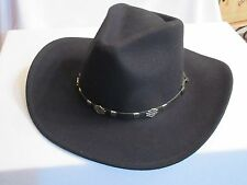 Harley Davidson Cowboy Hat Black Crushable Water Repellent Leather Band Wool