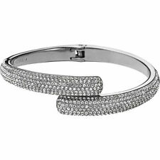 NEW MICHAEL KORS MKJ3668040 MKJ3668 PAVE CRYSTAL SILVER HINGED BANGLE BRACELET
