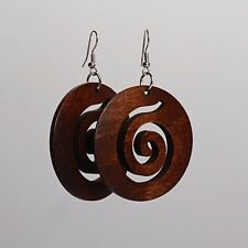 1 x Pair of Brown Swirl Wood Carved Round Spiral Koru Earrings bohemian womens