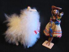 Vintage Set Peru folk art dolls, llama, woman with baby, clay faces native garb