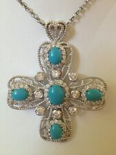 Sterling Silver Cross Pendant Turquoise & White CZ's