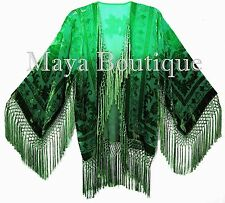 Wearable Art Velvet Kimono Jacket Hand Dyed Emerald & Jade Short Maya One Size