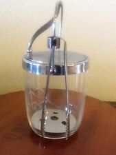 Vintage Glass Ice Bucket With Tongs & Lid--Bamboo Pattern Etched On Glass