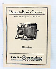 Original Kamera Werkstaetten, Patent Etui Instructions - printed before WWII