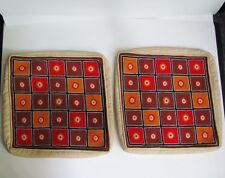 Pair 2 Mid Century Modern Abstract Hand Made Needlepoint Pillow Covers 1960's