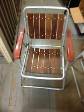 Vintage Redwood Folding Aluminum & Wood Lawn Patio Chairs