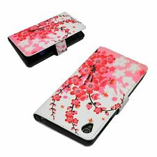 Pink Flower PU Leather Stand Card Wallet Cover Case For Sony Xperia Z1 L39h Hot
