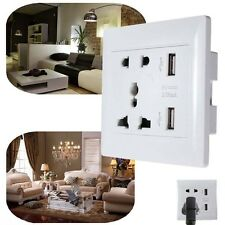 1x Dual Port USB Safety Wall AC Power Socket Charger Station Outlet Adapter