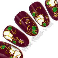 Nail Art Water Transfers Wraps Decals White Tropical Flowers Leaves Floral H039