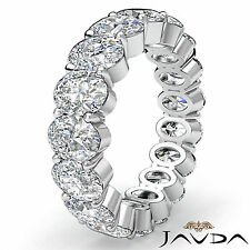 Oval Diamond Eternity Womens Wedding Band Engagement Prong Ring Platinum 4.15Ct