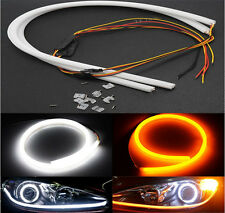 2 X 60 cm Flexible Audi Style Tube Type White Amber Switchback LED DRL Indicator