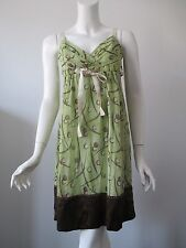 BCBG Max Azria Green Brown Circle Prints Pure Chiffon Silk Dress 2