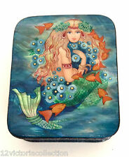 Golden Hair Mermaid Mother of Pearl Hand Painted Russian Lacquer Box  Fedoskino