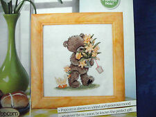 ADORABLE POPCORN BEAR WITH SPECIAL DELIVERY OF DAFFODILS CROSS STITCH CHART