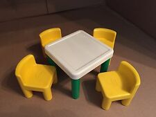 Vintage Little Tikes Dollhouse Size Furniture Green Table & 4 Yellow Chairs EUC