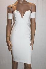 blessed are the meek Designer White Off Shoulders Fitted Dress Size S BNWT #SH66