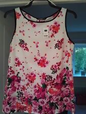 DUNNES STORES SLEEVELESS WHITE WITH FLORAL MULTI PRINT TOP SIZE 12 BNWT