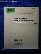 Sony Bedienungsanleitung HT DDW840 /DDW740 FM/AM Receiver (#2646)