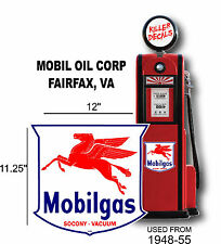 "(MOBI-4) 12"" MOBIL GAS PEGUSUS SHIELD GASOLINE DECAL CAN / GAS PUMP / LUBSTER"