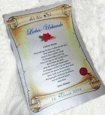 Ich LIEBE Dich! Urkunde in Silber  GESCHENK Valentin  VALENTINSTAG Hochzeitstag