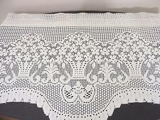 Vintage Soft White Floral Lace Valance Scallop Bottom 70x18 in. Romantic Cottage