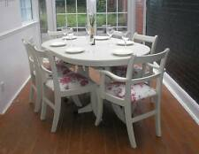 SHABBY CHIC 5ft REGENCY DINING TABLE & 6 CHAIRS - FARROW & BALL