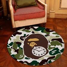 Bathing Ape Bath Door Mat Carpet Rug Soft Home Non Slip green round Camouflage