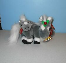 "2004 Breyer Holly & Ivy Mare & Foal 10"" Stuffed Christmas Plush Horse Pair"