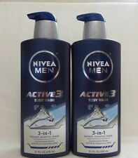 2 Nivea Men Active Body Wash 3 In 1 Shower Shampoo Shave 21 Oz NEW!!!