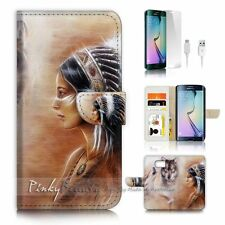 Samsung Galaxy ( S7 Edge ) Flip Wallet Case Cover P1822 Indian Wolf