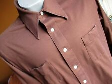 M True Vtg 70's ARROW GEEK KNIT CHOCOLATE BROWN BUTTON POINT COLLAR SHIRT