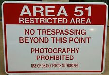 Aluminum Funny Sign: Area 51 Aliens Roswell UFO No Trespassing
