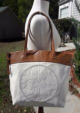 Coach Laura Leather Tote Shoulder LARGE BAG Embossed BRITISH TAN IVORY F18336