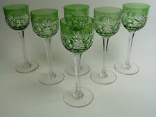 ST LOUIS Crystal - Art DECO Cut - Coloured Hock Glasses - Set of 6