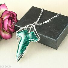 N5 Green Enamel Elf Leaf Brooch Pendant Necklace - Gift Boxed
