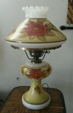 Vintage Hand Painted Gone With The Wind Hurricane Lamp 3 Way Light
