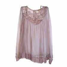 Ladies Lagenlook Italian Gorgeous Beige Silk Chiffon & Lace One SizeTunic/Blouse
